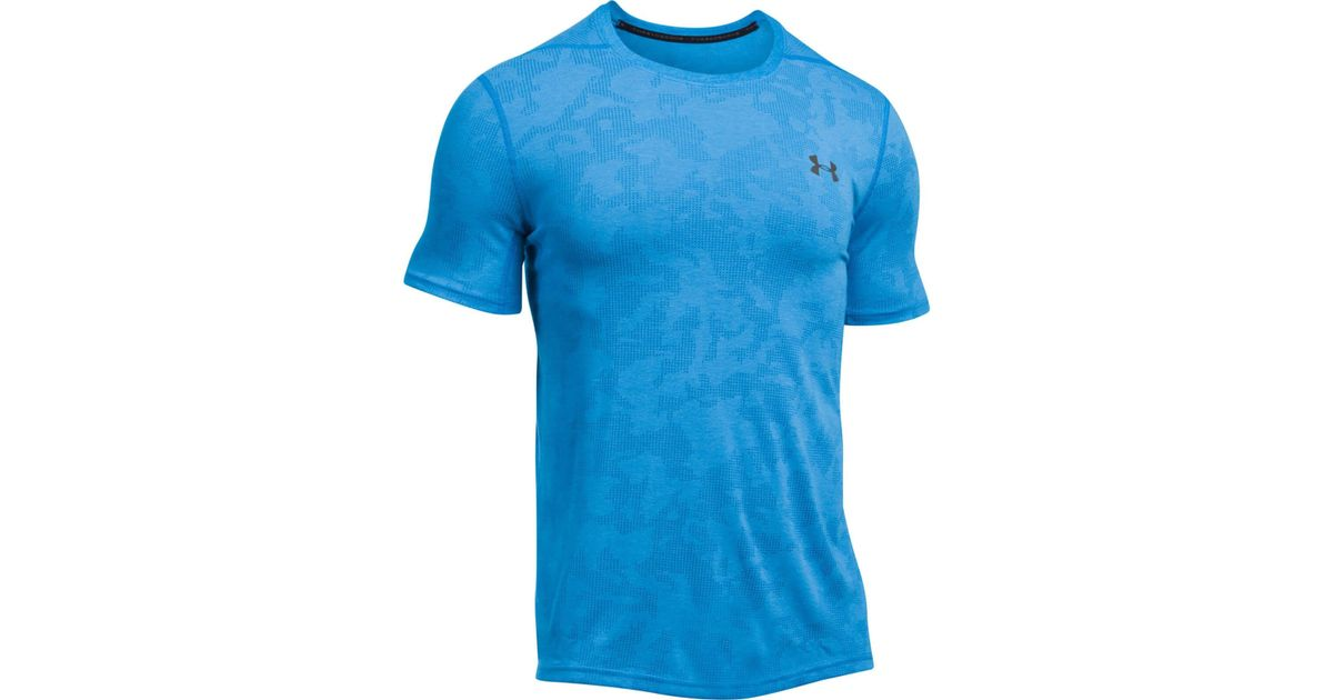 Under armour elite fitted t shirt in blue for men lyst for Under armour fitted t shirt