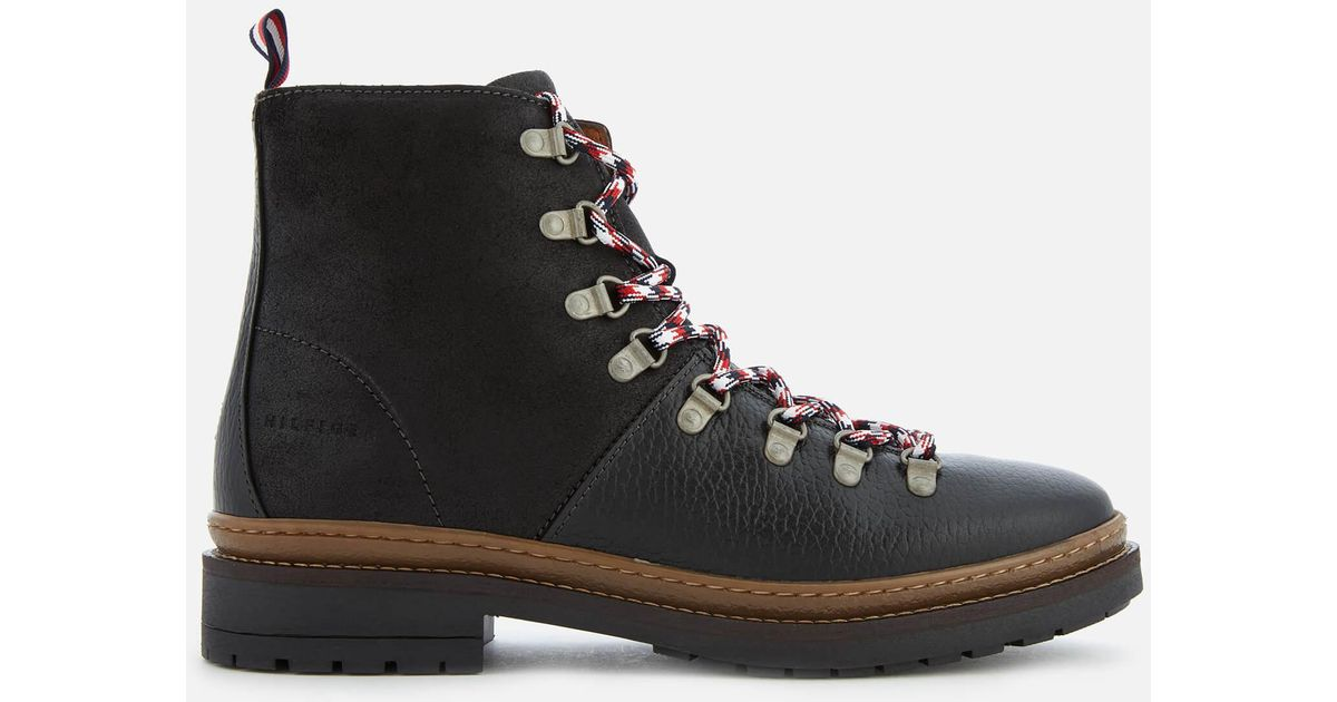 fbe997536ebef Tommy Hilfiger Elevated Outdoor Leather Hiking Boots in Black for Men - Lyst