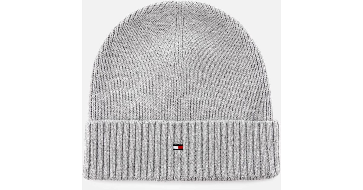 4d58cabb Tommy Hilfiger Pima Cotton Cashmere Beanie in Gray for Men - Lyst