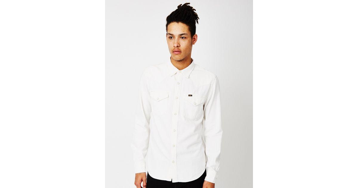 Lee jeans L643 Western Denim Shirt White in White for Men ...