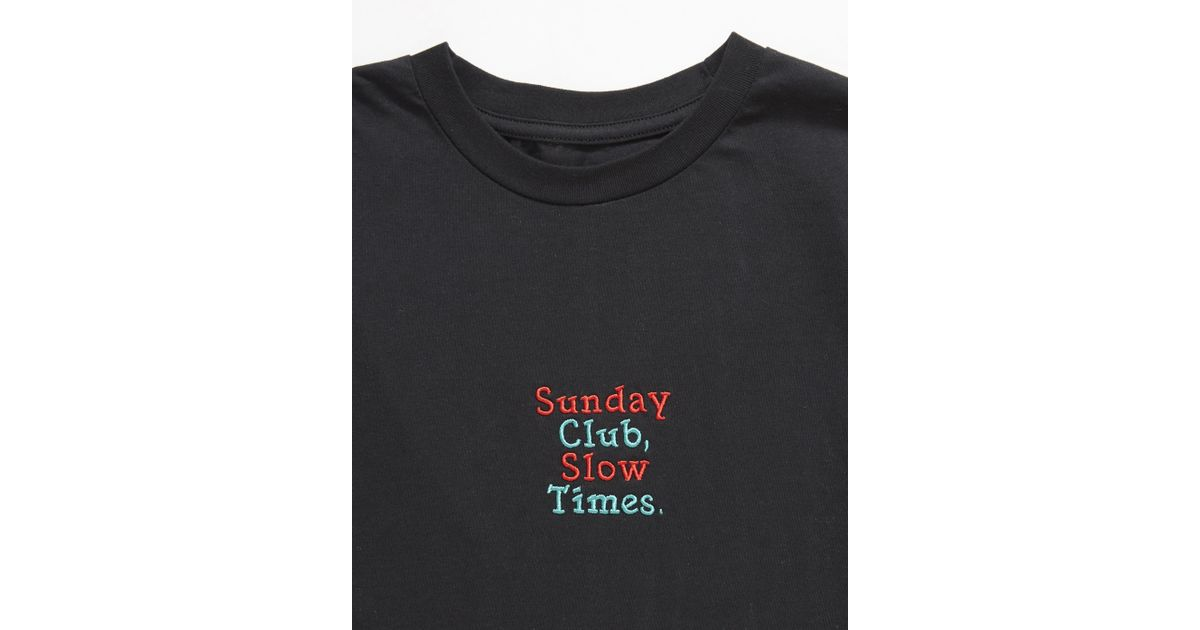 4ccff2f718 The Idle Man Embroidered Sunday Club Tshirt Black in Black for Men - Lyst