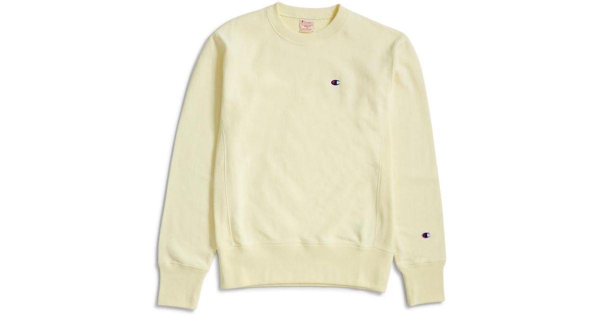 2c20b2f687a7 Champion Reverse Weave Crewneck Sweatshirt Lemon in Yellow for Men - Lyst