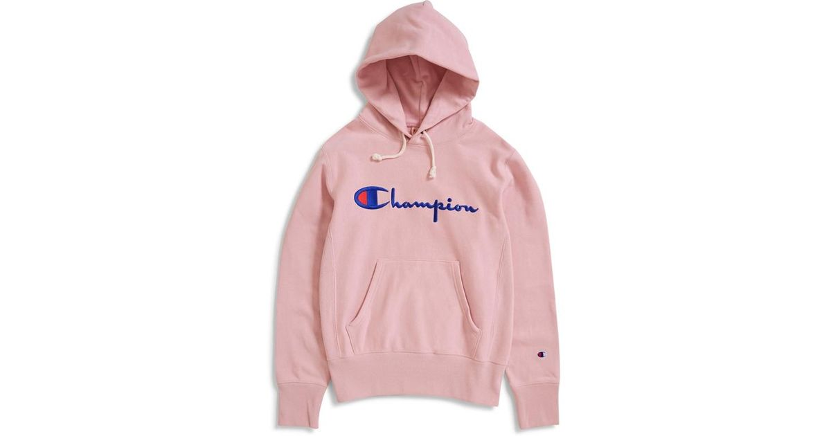 bb2e4bc91269 Champion Reverse Weave Script Logo Hooded Sweatshirt Pink in Pink for Men -  Lyst