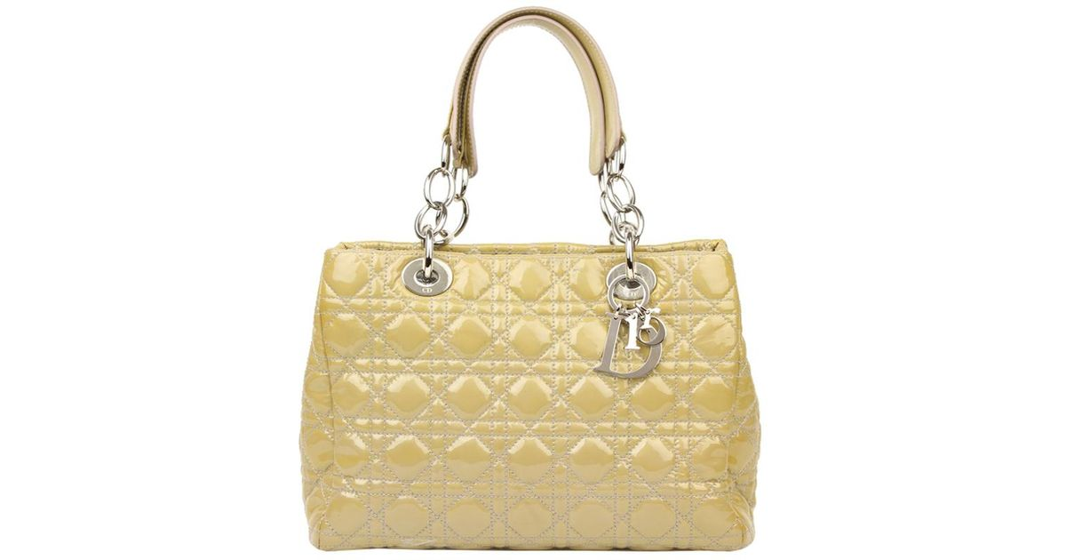 b77d66727a15 Dior Cannage Quilted Patent Leather Small Soft Tote in Natural - Lyst