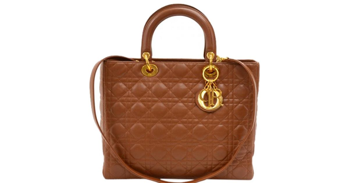Lyst - Dior Cannage Quilted Leather Large Lady Tote in Brown 06d0a81a8ae61