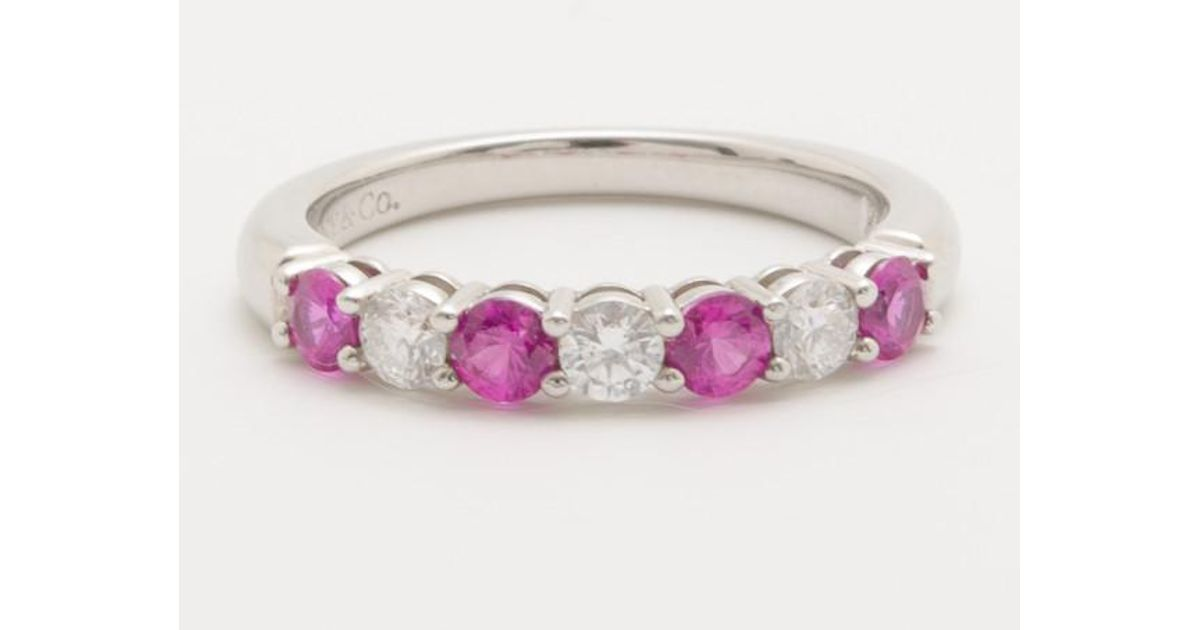 4a99edeff297 Lyst - Tiffany   Co. Diamond And Pink Sapphire Band Ring in Pink