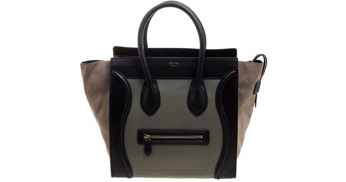 Lyst - Céline Tri Color Leather And Suede Mini Luggage Tote in Black 0cf02b319b39d