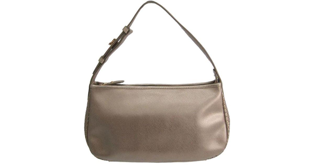 cb755bef55c9 Ferragamo Bronze Saffiano Leather Shoulder Bag in Natural - Lyst