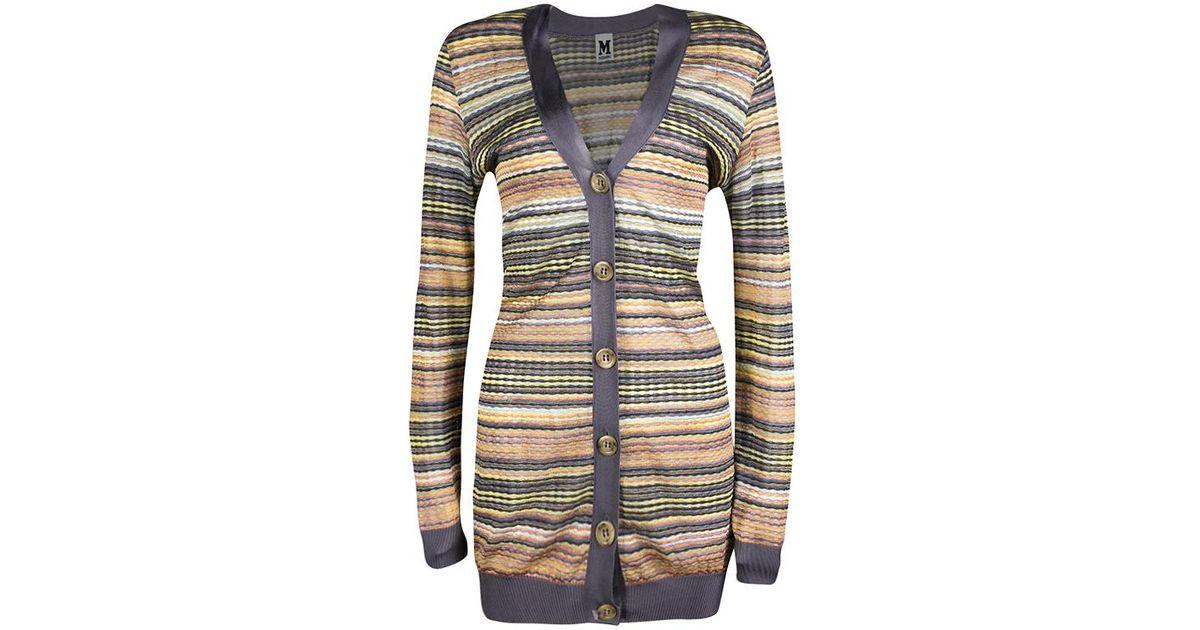 fea8227cb7 M Missoni - Multicolor Patterned Knit Contrast Ribbed Trim Cardigan M - Lyst