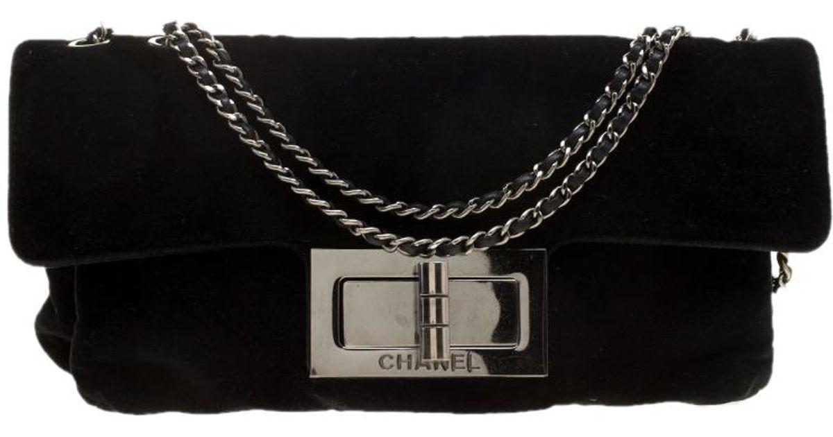9df63c039bf92b Chanel Velvet Giant Reissue Flap Shoulder Bag in Black - Lyst