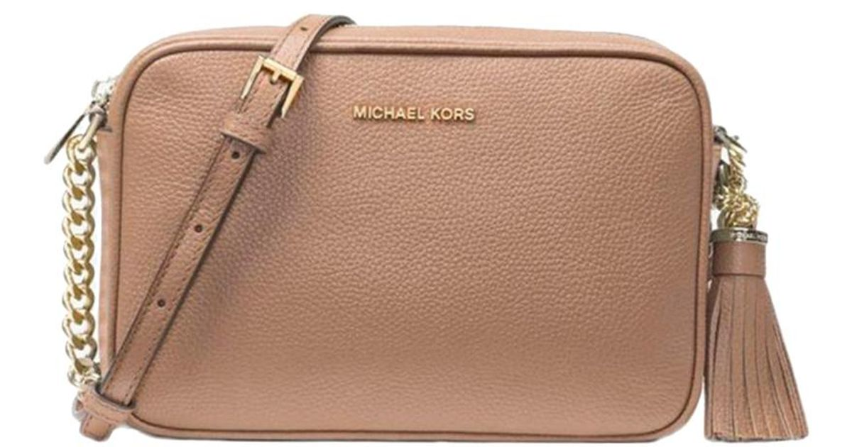 29db886ec5b1b2 Michael Kors Truffle Pebbled Leather Medium Ginny Crossbody Bag in Brown -  Lyst