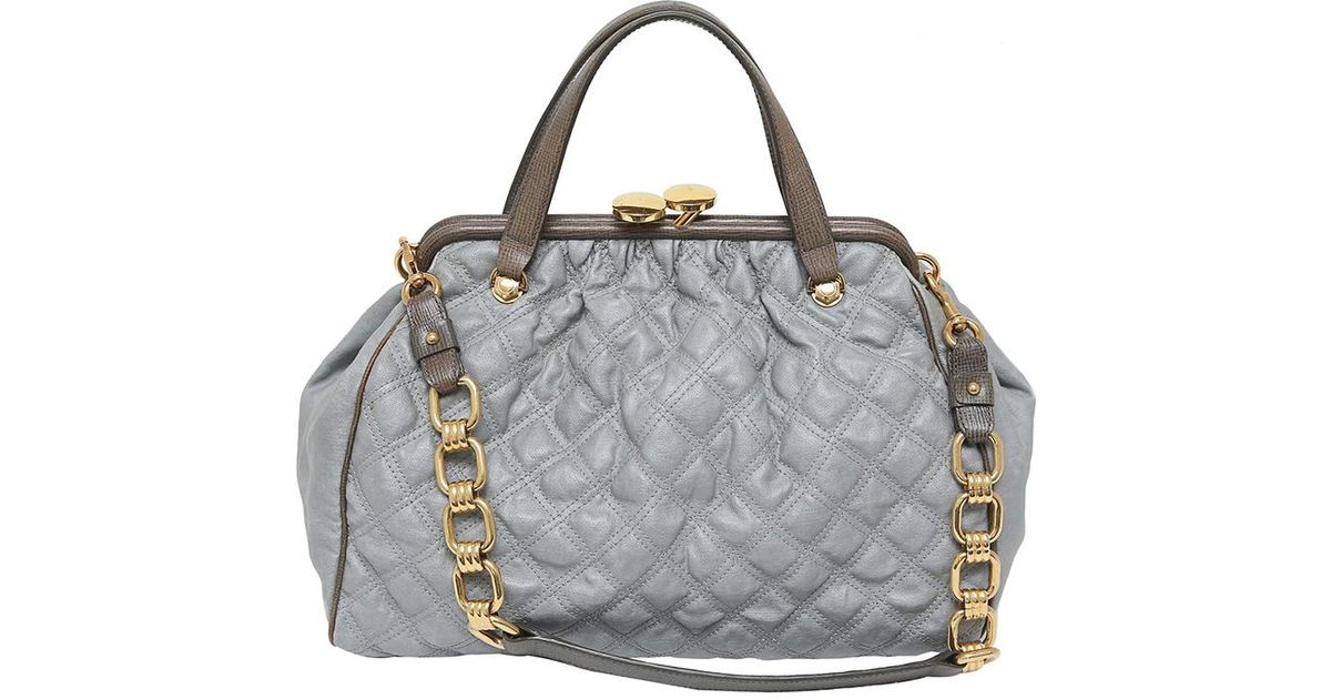d11e8ac0caf2 Lyst - Marc Jacobs Grey Quilted Coated Canvas Stam Satchel Bag in Gray