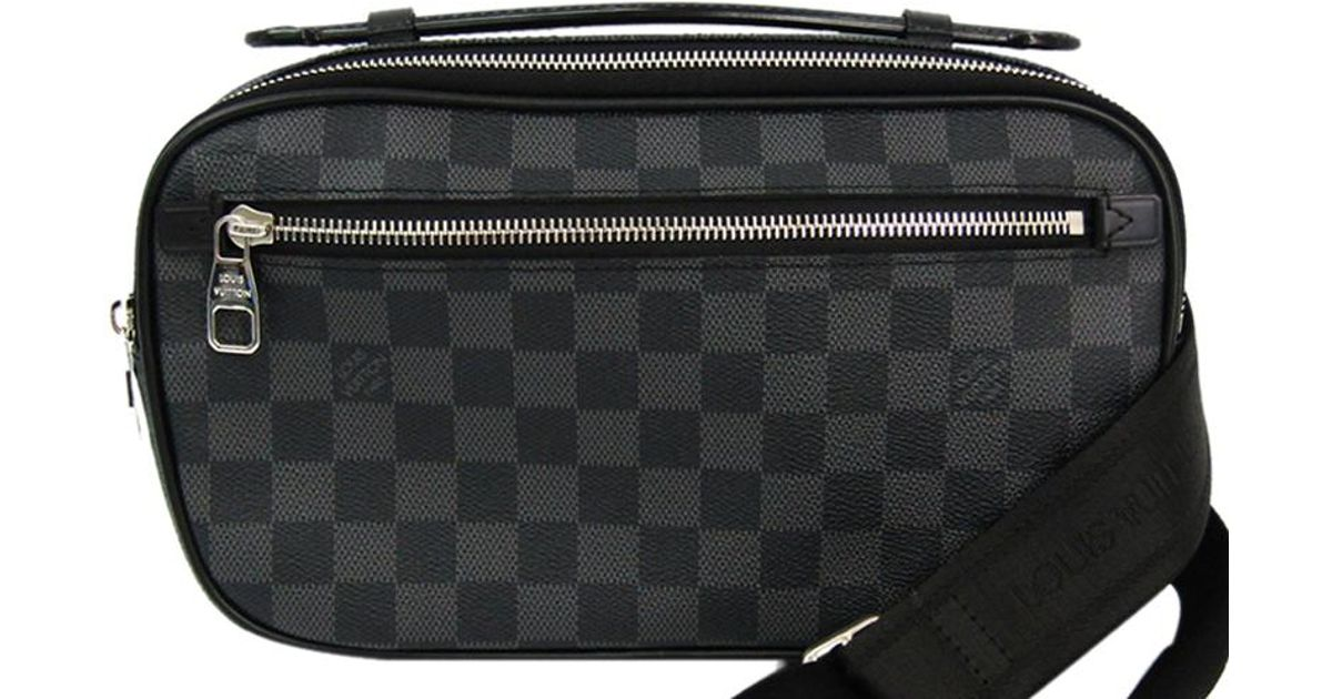a552c2e8ba73 Lyst - Louis Vuitton Damier Graphite Canvas Ambler Bum Bag in Black for Men