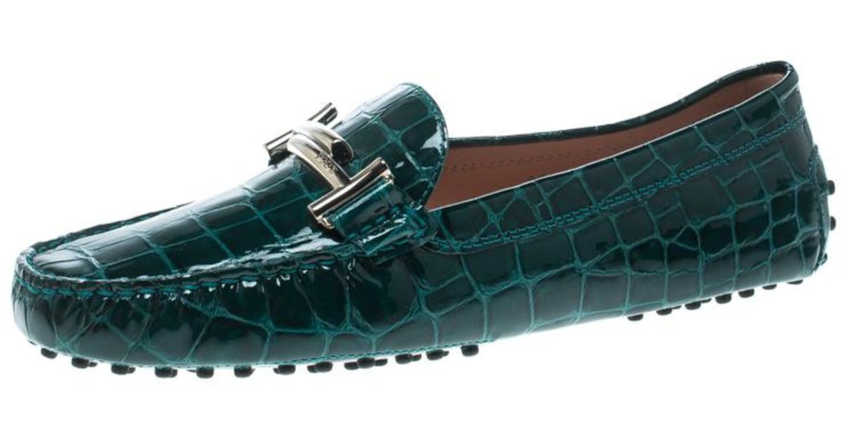 ad261259e80 Lyst - Tod s Emerald Croc Embossed Patent Leather Gommino Double T Buckle  Driver Loafers in Green