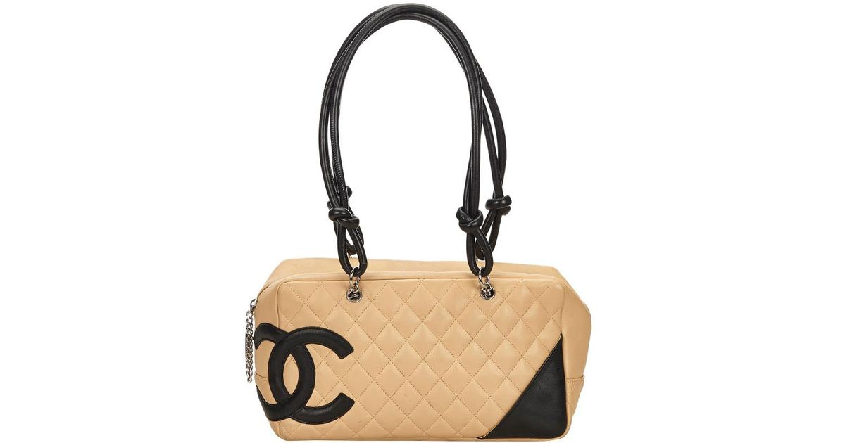 f9d2b4349e Chanel Two Tone Quilted Leather Ligne Cambon Bowler Bag in Natural - Lyst