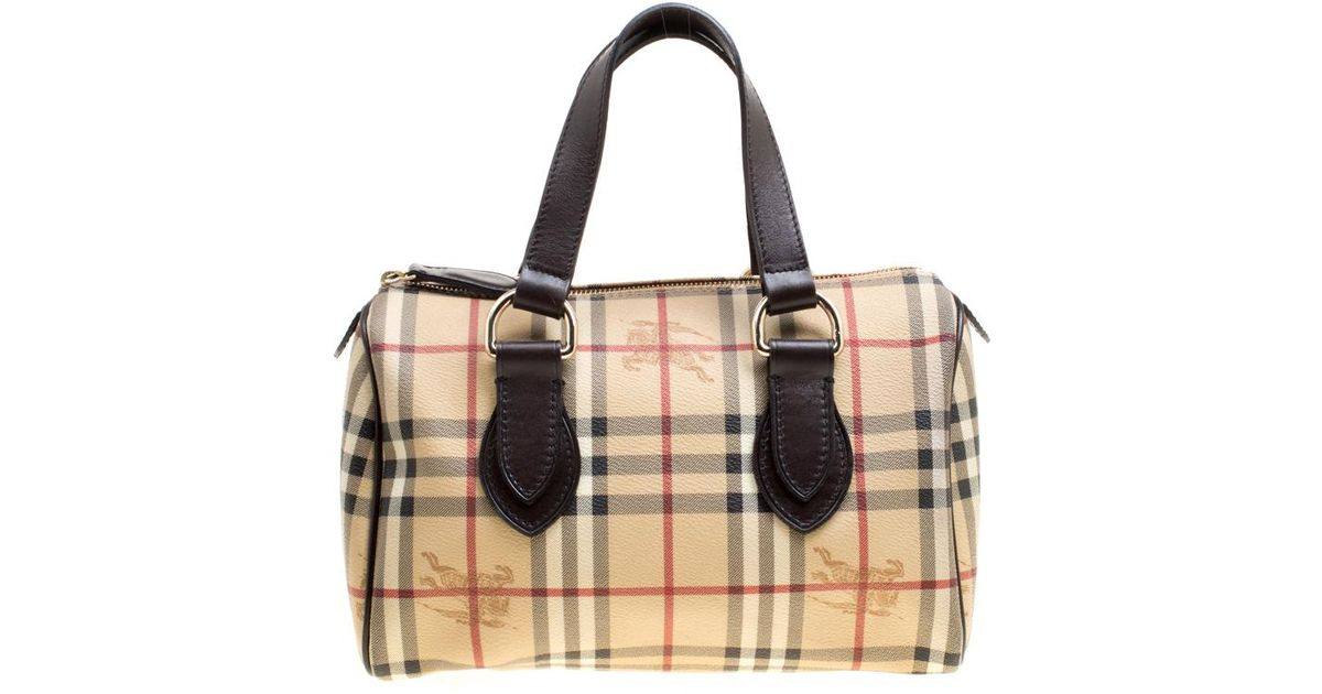 Lyst - Burberry Haymarket Check Coated Canvas Boston Bag in Natural b4b9e41372fe6
