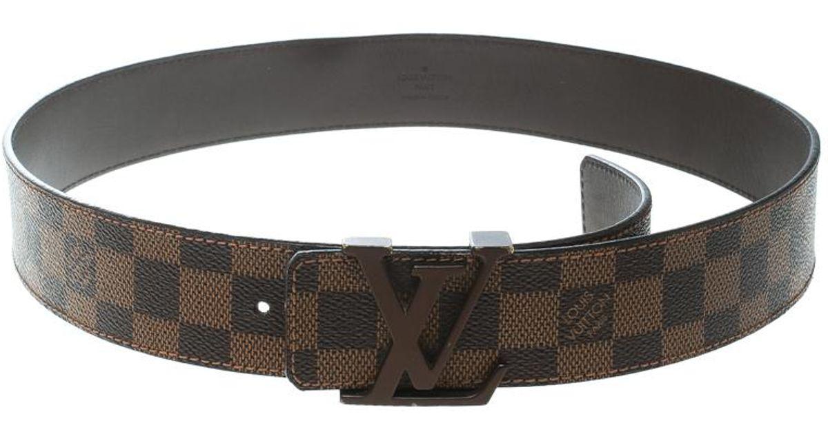 d962ff74246b Lyst - Louis Vuitton Damier Ebene Initials Belt 85 Cm in Brown for Men