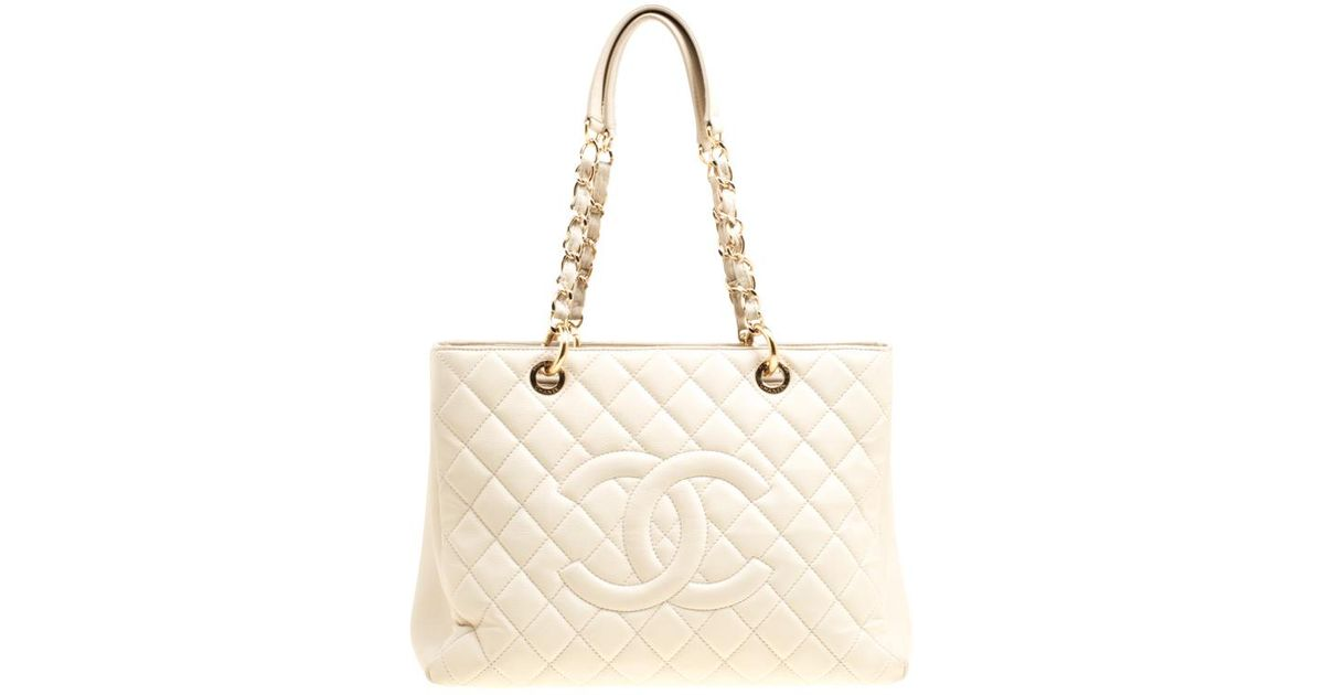 1a678fab98be Chanel Quilted Caviar Leather Grand Shopper Tote Bag in Natural - Lyst