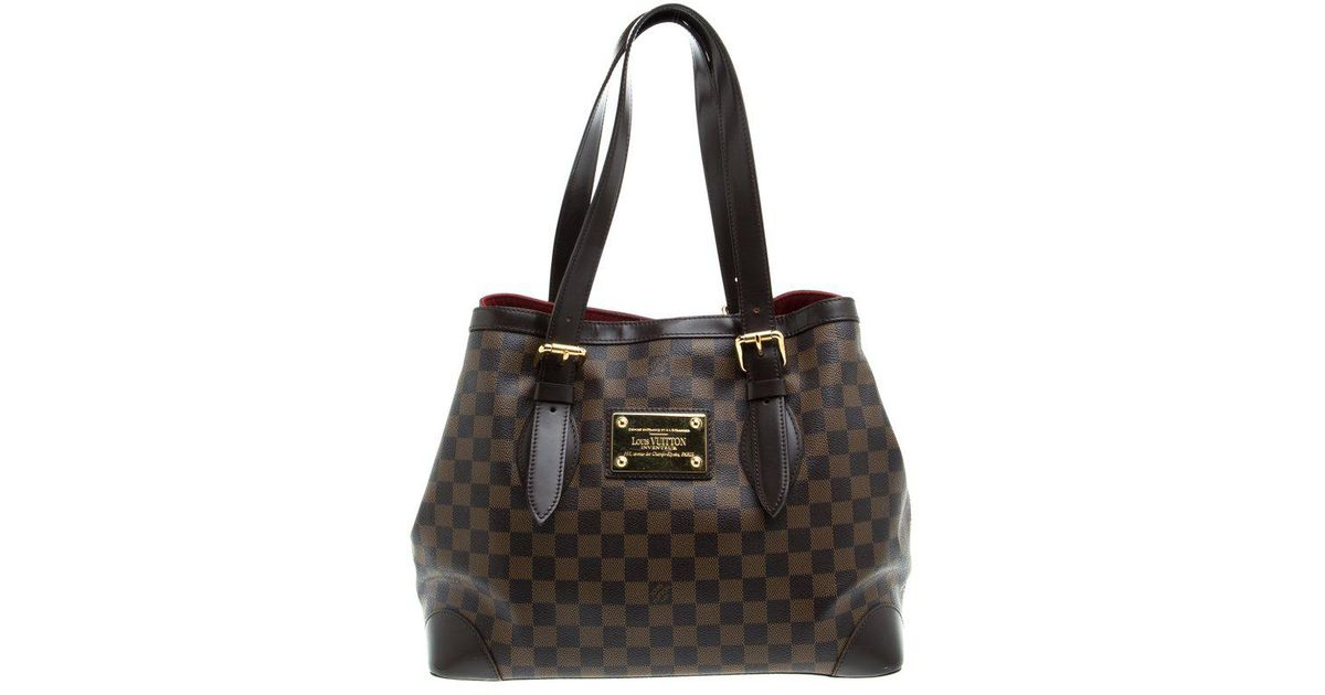 43036a8ccdbe0 Lyst - Louis Vuitton Damier Ebene Canvas Hampstead Mm Bag in Brown