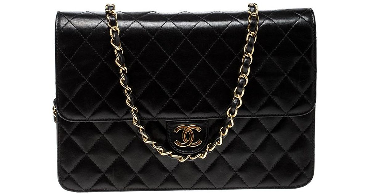 564754c973cb96 Lyst - Chanel Quilted Leather Medium Vintage Classic Single Flap Bag in  Black