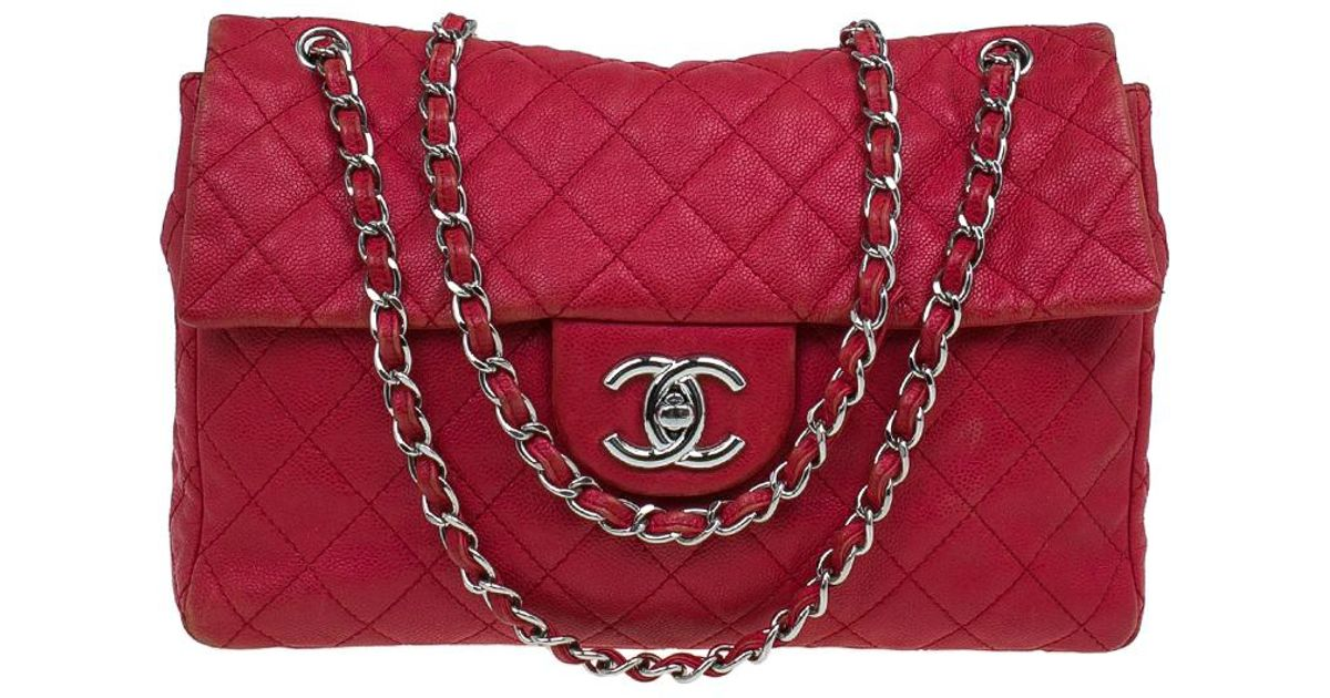 1939859ff3b9 Chanel Washed Caviar Leather Maxi Jumbo Xl Classic Flap Bag in Red - Lyst