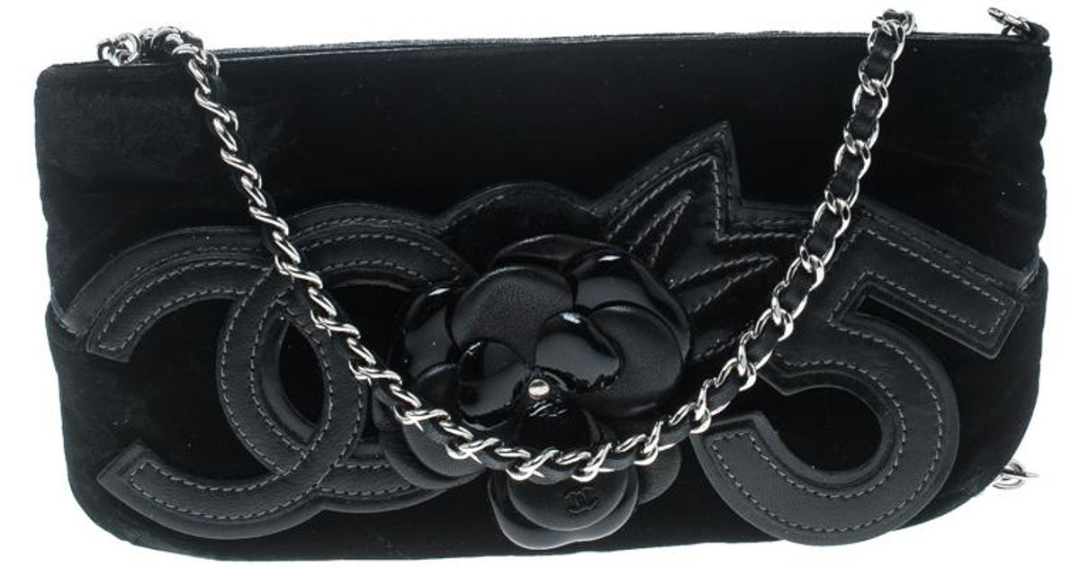 db8cf019e973 Lyst - Chanel Velvet Camellia No. 5 Pochette Shoulder Bag in Black