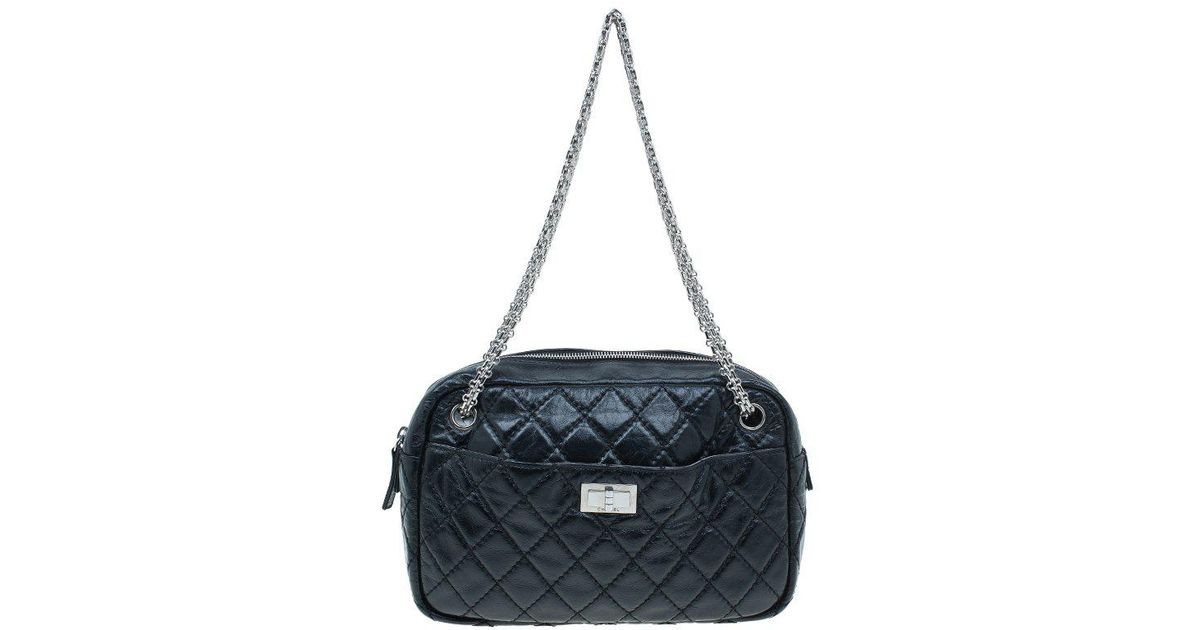 d2d0c44b0633 Lyst - Chanel Quilted Crackled Leather Medium Reissue Camera Bag in Black