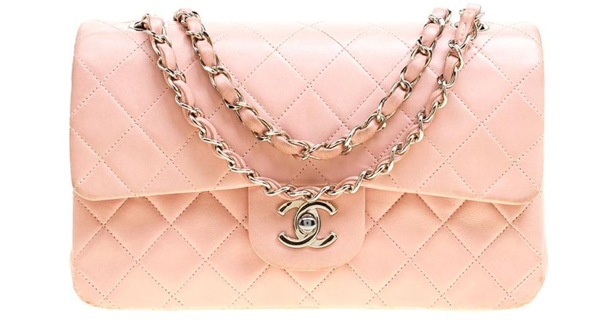 e47ac11a596511 Chanel Blush Quilted Leather Small Vintage Classic Double Flap Bag in Pink  - Lyst