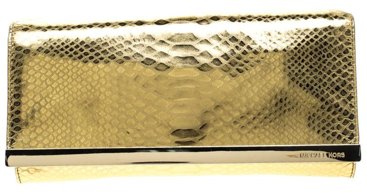 4cd348f59f61 Lyst - MICHAEL Michael Kors Metallic Python Print Leather Tilda Clutch in  Metallic
