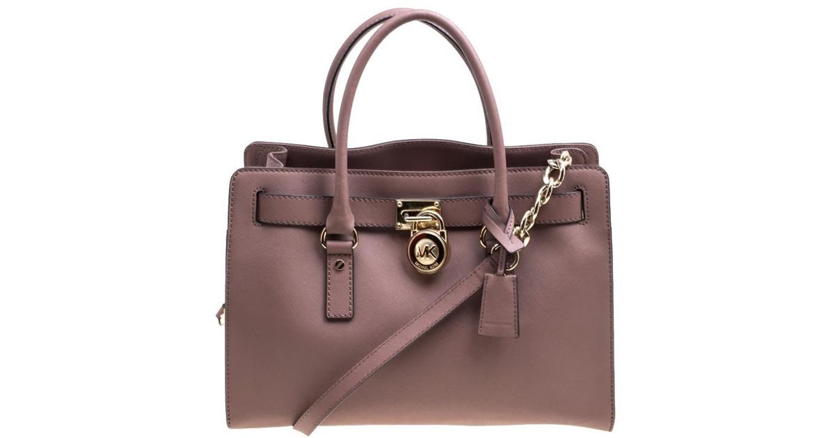 db7f16583a4f Lyst - MICHAEL Michael Kors Pale Pink Leather East West Hamilton Top Handle  Bag in Pink
