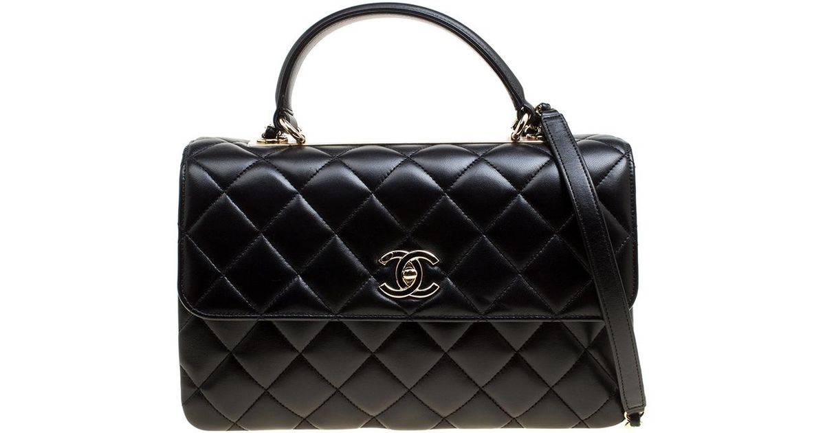 Lyst - Chanel Quilted Leather Medium Flap Top Handle Bag in Black afbabfe3c