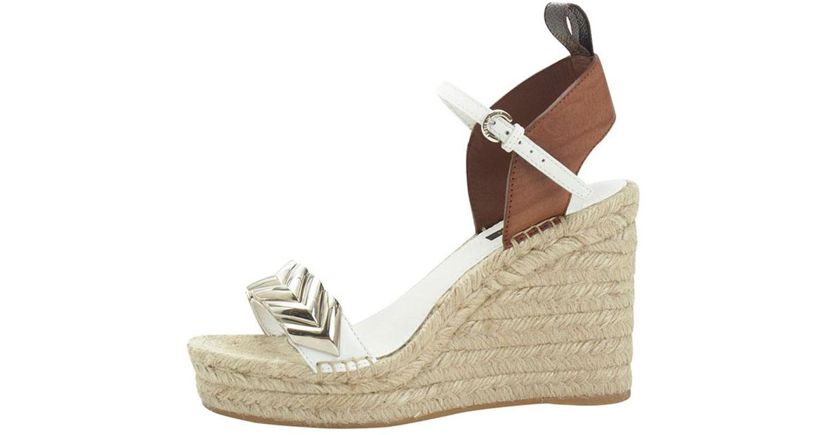 a6deb7a448a6 Lyst - Louis Vuitton Two Tone Embellished Leather Spring Hill Espadrille  Wedge Sandals in Natural