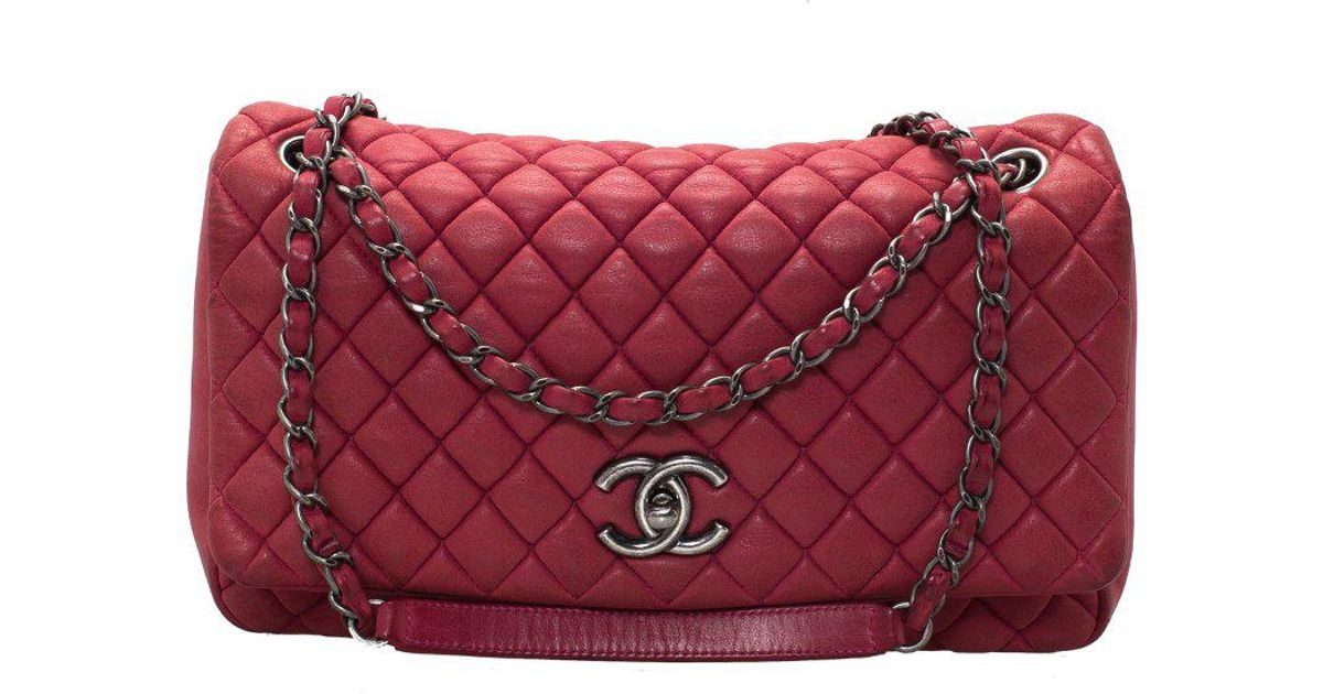 ad93a422e8d3 Chanel Quilted Iridescent Leather Large New Bubble Flap Bag in Red - Lyst