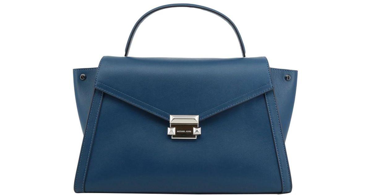 c1db2e2894d4 Lyst - Michael Kors Leather Large Whitney Satchel Bag in Blue