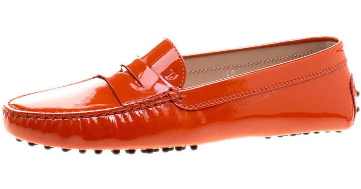 7a456deaef87 Tod s Patent Leather Penny Loafers in Orange - Lyst
