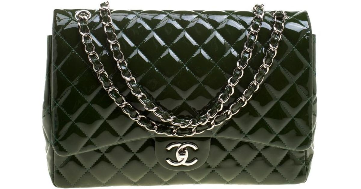 68a6c3bd6336 Chanel Quilted Patent Leather Maxi Classic Double Flap Bag in Green - Lyst