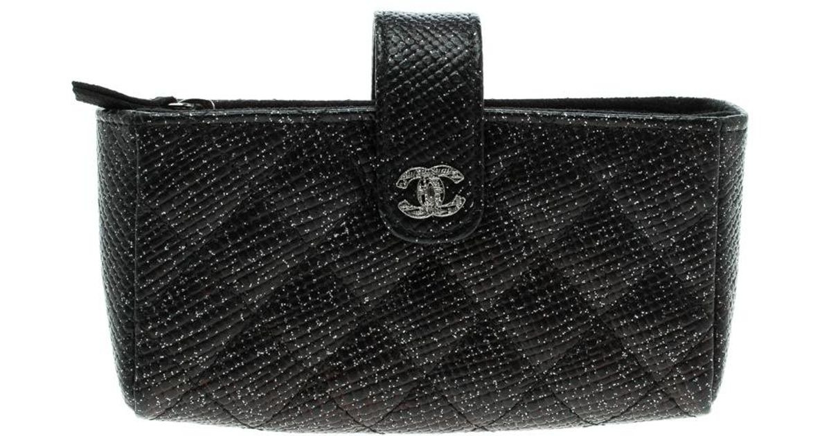 4195346115 Chanel Quilted Glitter Leather Iphone Pouch in Black - Lyst