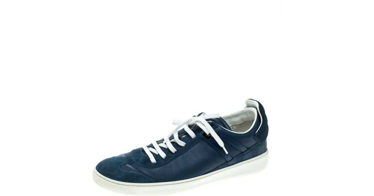 9d3eb8430cb6 Lyst - Louis Vuitton Leather And Suede Damier Trimmed Detail Lace Up  Sneakers in Blue for Men