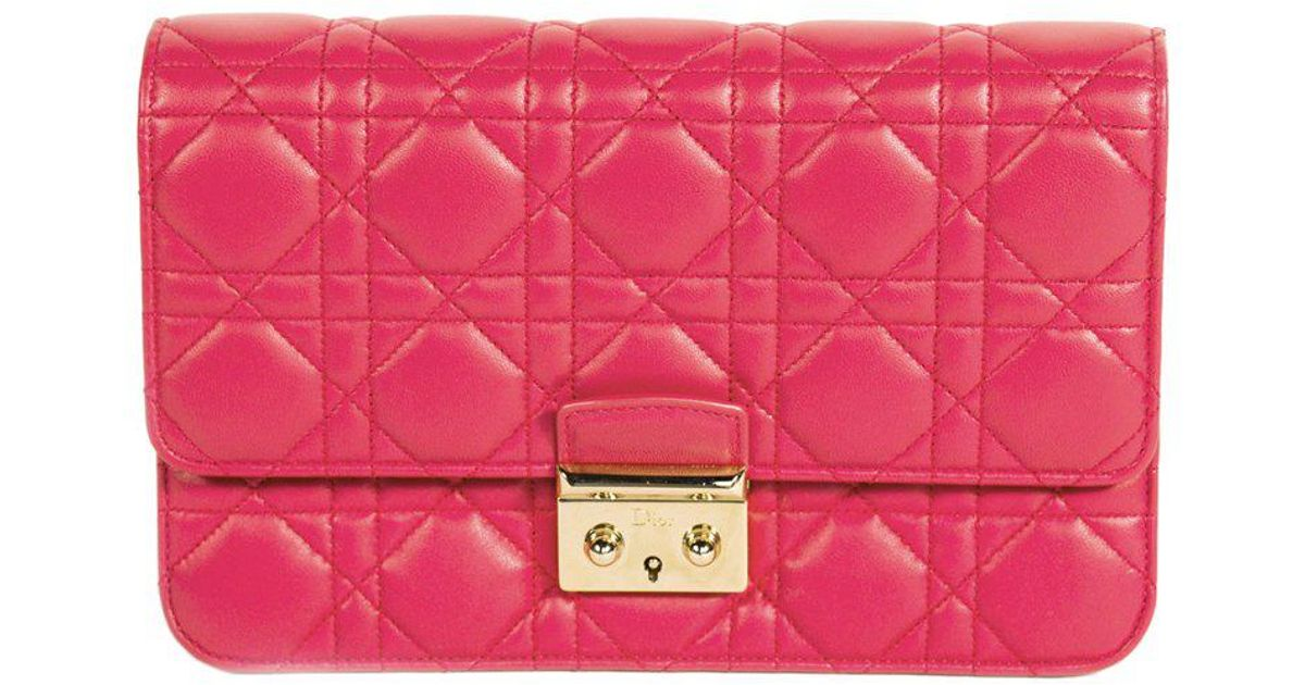 f5d943e2e10c Lyst - Dior Cannage Quilted Lambskin Miss Promenade Pouch Clutch Bag in Pink