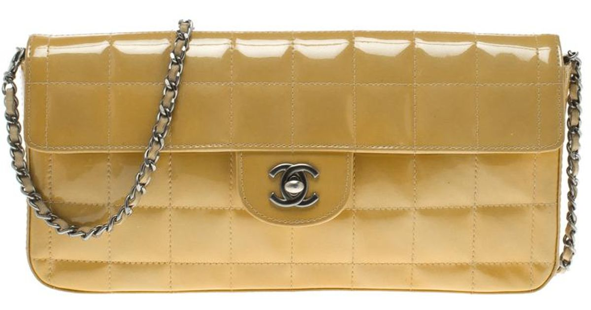 37897c0d4b3b Chanel Chocolate Bar Patent Leather East West Flap Bag in Yellow - Lyst