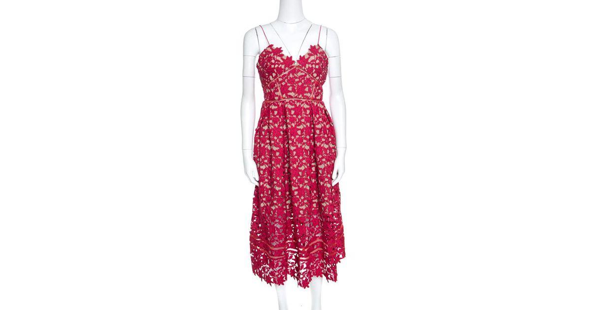 4ccfe5f781e Lyst - Self-Portrait Floral Guipure Lace Noodle Strap Azaelea Midi Dress M  in Red
