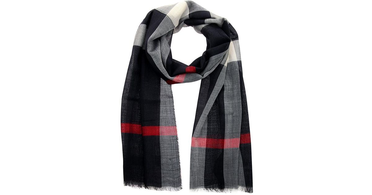 dba958c3c6687 Lyst - Burberry Navy Wool And Silk Half Mega Check Gauze Stole in Blue