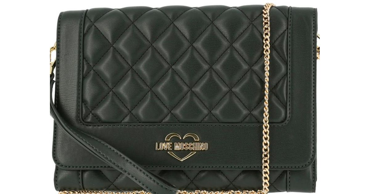 586faf742ca1 Lyst - Moschino Love Dark Quilted Leather Wristlet Chain Clutch Bag in Green
