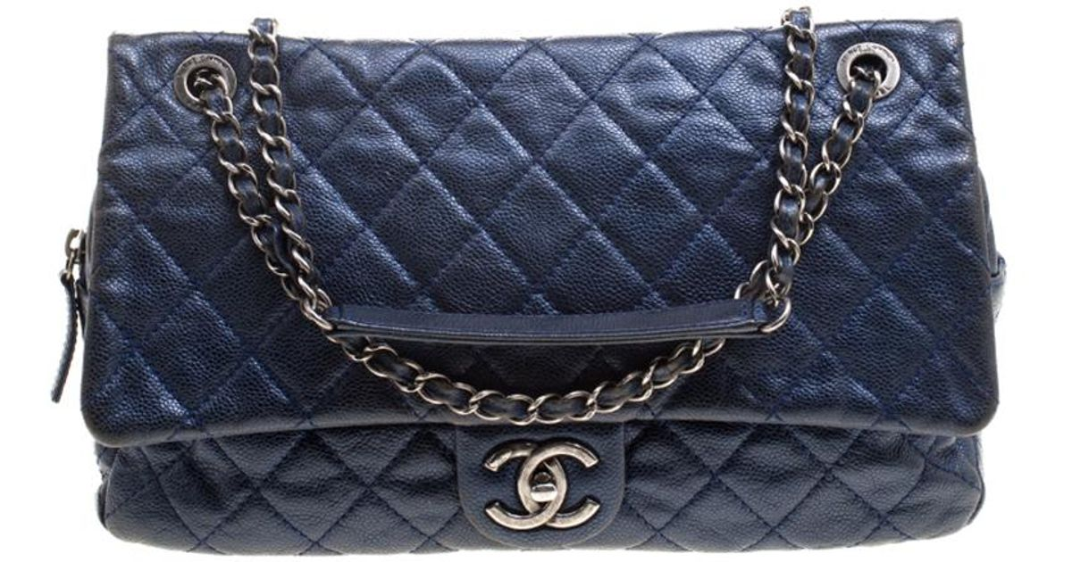 83901dc359a1 Chanel Quilted Caviar Leather Large Easy Flap Bag in Blue - Lyst