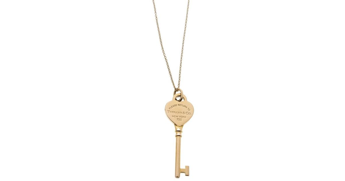 7b3b0e032b56 Tiffany   Co. Return To Tiffany Heart Key 18k Rose Gold Pendant Necklace in  Metallic - Lyst