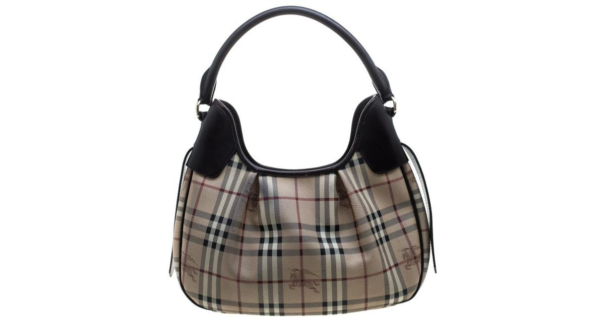 0e92f6607eb0 Lyst - Burberry  brown Haymarket Check Pvc And Leather Brooklyn Hobo in  Natural