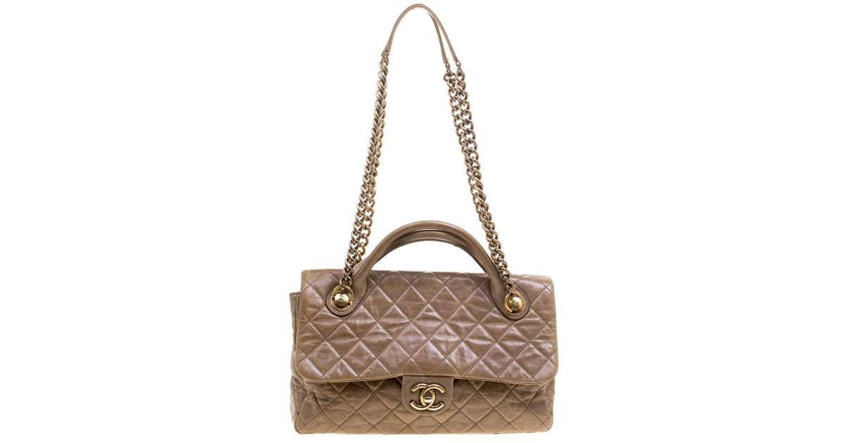 5da34ba7e7e9 Chanel Quilted Glazed Leather Medium Castle Rock Top Handle Bag in Natural  - Lyst