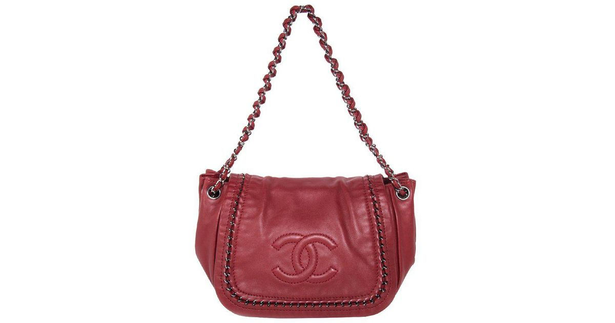 fd3700c7b388 Lyst - Chanel Leather Luxe Ligne Accordion Flap Bag in Red