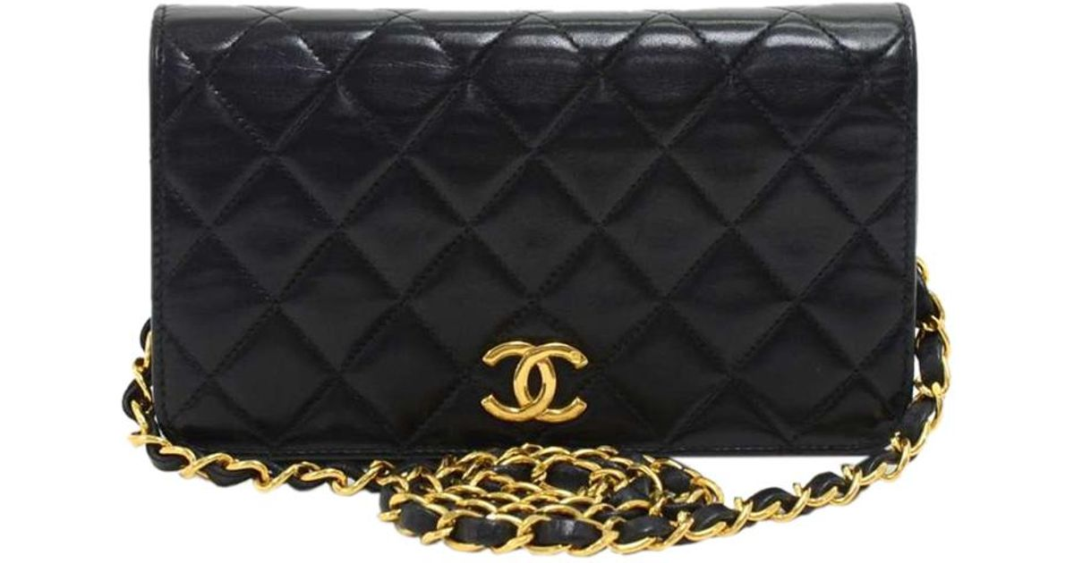 45f8be9362dbea Chanel Quilted Leather Mini Vintage Full Flap Bag in Black - Lyst