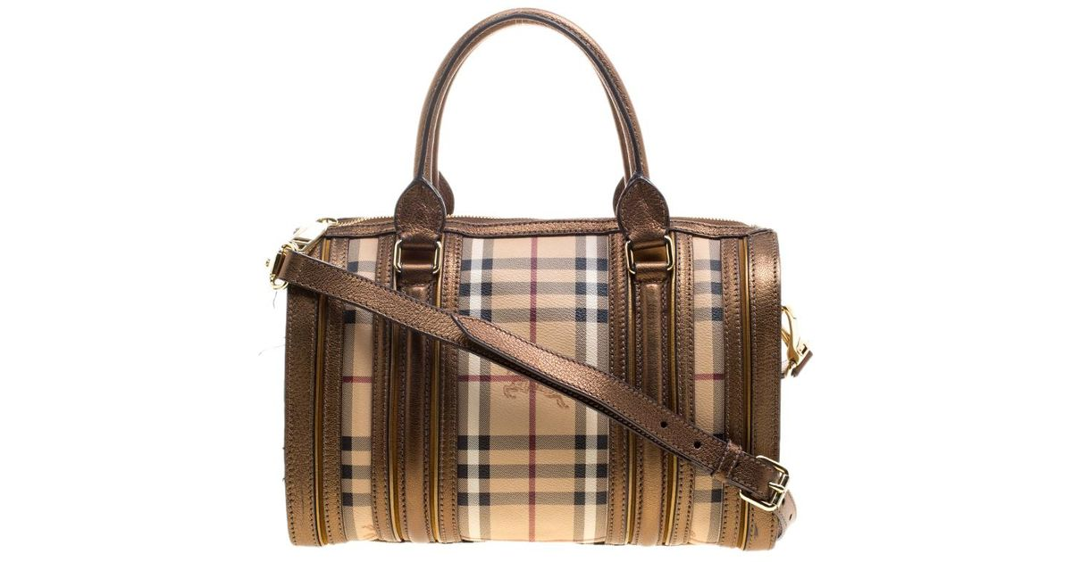 f3cc36732c5e Lyst - Burberry Bronze Haymarket Canvas And Leather Medium Alchester Bowling  Bag in Brown